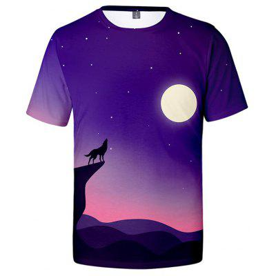 Creative 3D Wolf Print Men's Short Sleeve T-shirt