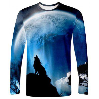 3D Wolf Print Long Sleeve Men's T-shirt Creative