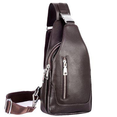 Genuine Leather Men's Chest Bag USB Interface