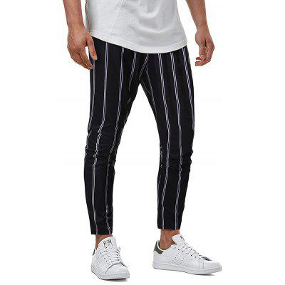 Men's Striped Check Business Casual Trousers