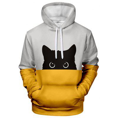 Men's Creative 3D Cat Print Hoodie Sweatshirt
