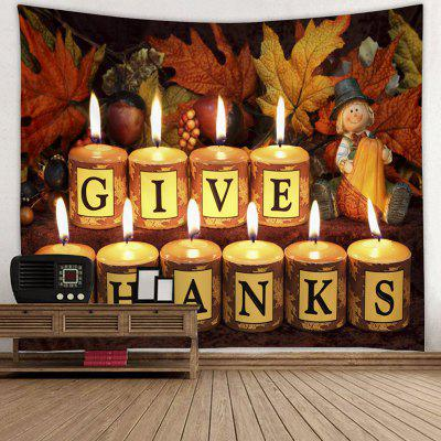 Thanksgiving Theme Letter Print Candle Pattern Tapestry