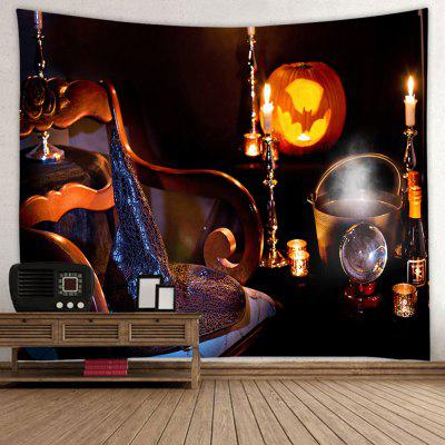 Halloween Night Pumpkin Light Magic Hat Wine Candle Print Polyester Brushed Tapestry
