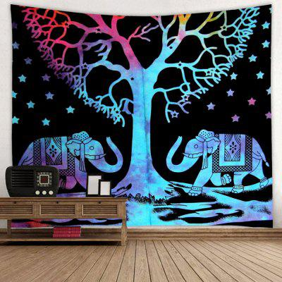 Abstract Style Halloween Tree Elephant Pattern Print Tapestry