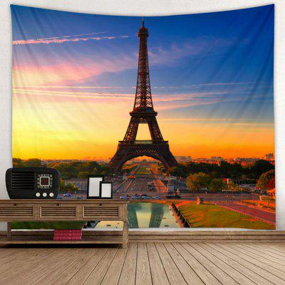 Sunset Paris Tower Pattern Print Tapestry