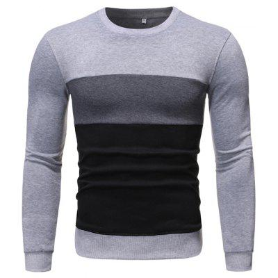 Stitching Men's Long-sleeved Round Neck Pullover Fashion Sweater