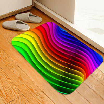 Rainbow Wave Pattern Background Floor Mat Carpet