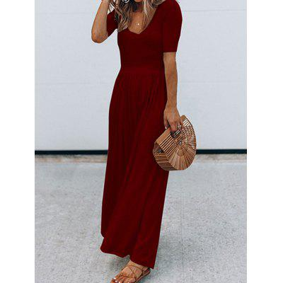 Round Neck Short Sleeve Ladies Long Dress
