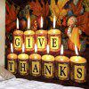 Thanksgiving Theme Letter Print Candle Pattern Tapestry - BEIGE