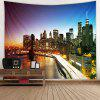 Realistic Style Lighting Urban City Pattern Printing Tapestry - OCEAN BLUE