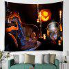 Halloween Night Pumpkin Light Magic Hat Wine Candle Print Polyester Brushed Tapestry - MOCA