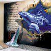 English Letter + Dolphin Pattern Tapestry - COBALT BLUE