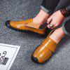 Leather Casual Large Size Lace Men's Peas Shoes - SANDY BROWN