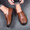 Leather Casual Large Size Lace Men's Peas Shoes - BROWN