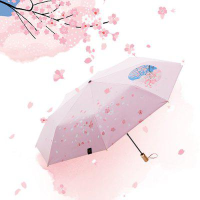 BANANAUNDER Romantic Cherry 200 Line Tri-fold Small Umbrella