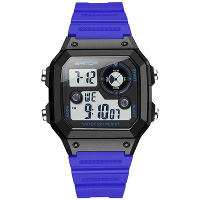 SANDA 418 Simple Square Men Waterproof Sports Watch with Luminous Function