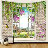 Window Landscape Pattern Printed Tapestry - MAGENTA