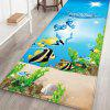 Undersea Seaweed and Colorful Fish Pattern Background Floor Mat Carpet - SKY BLUE