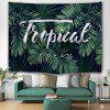Green Palm Leaf Printed Polyester Tapestry - MEDIUM SEA GREEN
