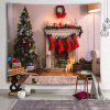 Christmas Tree Fireplace Decorative Tapestry - WARM WHITE