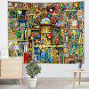 Colorful Bookshelf Printed Tapestry - GOLDENROD