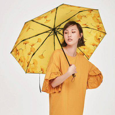BANANAUNDER Maple Leaf Printing Three Fold Umbrella