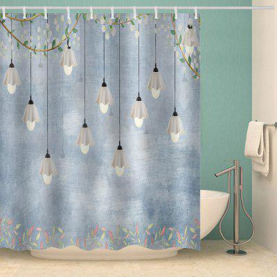 Light Blue Light White Flower Print Waterproof Shower Curtain