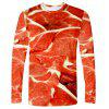 Creative 3D Men's Print Long Sleeve T-shirt - CHERRY RED