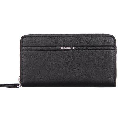 Large Capacity Business Casual Men's Soft Leather Clutch Bag with Double Layer