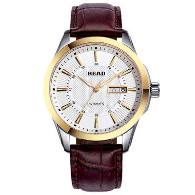 READ R8016 Leather Automatic Men's Watch With Dual Calendar Function