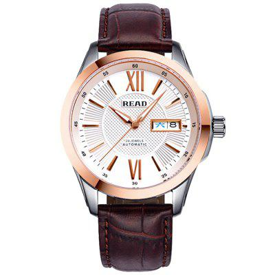 READ R8016 Leather Automatic Men Watch with Dual Calendar Function