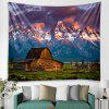 Snow Mountain House Pattern Wall Background Tapestry - BLUE GRAY