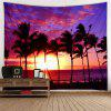 Sunset Coconut Tree Pattern Background Wall Decoration Tapestry - DAY SKY BLUE