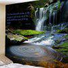Deep Valley Waterfall Pattern Background Wall Decoration Tapestry - DEEP GREEN