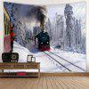 Snow Mountain Train Pattern Tapestry - GRAY CLOUD