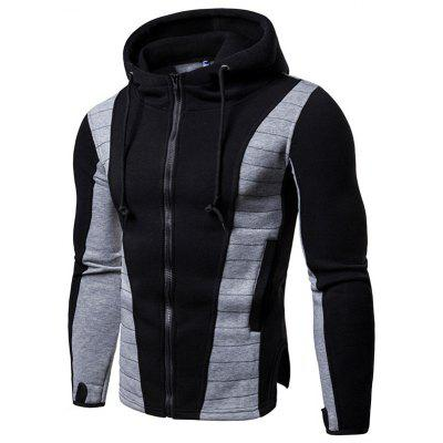 Sports Fitness Men's Slim Fitted Hooded Quilted Colored Hoodie Sweatshirt