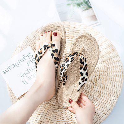 Leopard-printed Toe Flat Women Comfortable Slippers