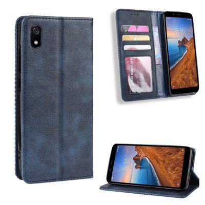 LuanKe Magnetic Buckle Vintage Leather Phone Case for Xiaomi Redmi 7A