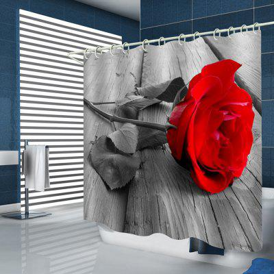 Lifelike Rose Pattern Print Shower Curtain