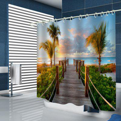 Cartoon Style Path Leading to Sea Pattern Printing Shower Curtain