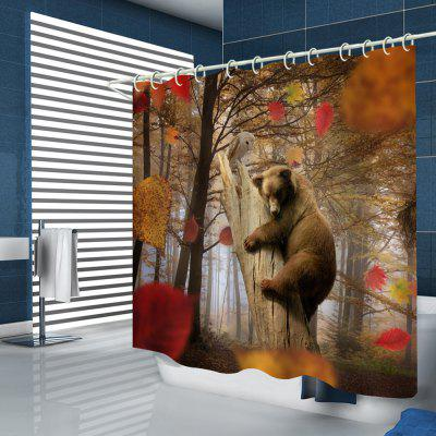 Maple Grove Wood Bear Pattern Print Shower Curtain