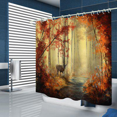Maple Leaf Forest Pattern Print Shower Curtain