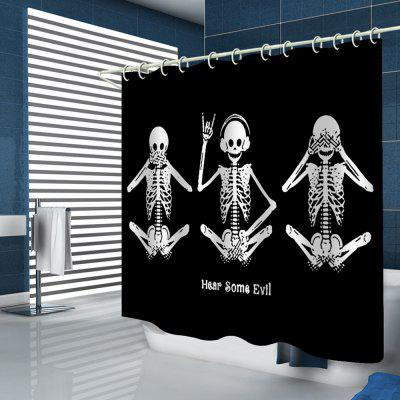 Creative Funny Style Skull Pattern Print Shower Curtain