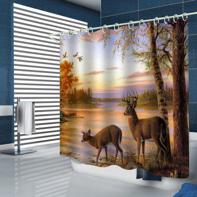 Elk Drink Water Pattern Shower Curtain