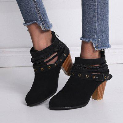 Suede Buckle Large Size High Heel Women's Boots