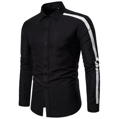 Moda Casual Turn-down Collar manga comprida homens combinando cor camisa