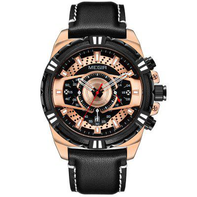 MEGIR 2118 Men Fashion Leather quartz horloge Timing Sport Horloge