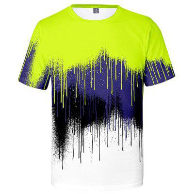 Men's Creative 3D Paint Print Short Sleeve T-shirt