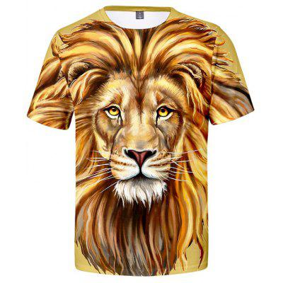 Creative 3D Lion Print Men's Short Sleeve T-shirt