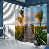 Cartoon Style Path Leading to Sea Pattern Printing Shower Curtain - BABY BLUE